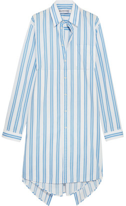 Asymmetric Paneled Striped Cotton Shirt Dress - Blue