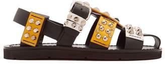 Stud-embellished leather sandals