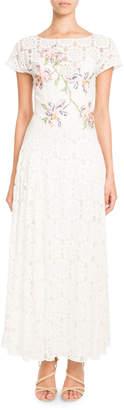 Pascal Millet Tie-Back Short-Sleeve Embroidered Paillette Floral-Lace Dress