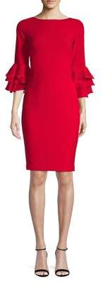 Calvin Klein Chiffon Appliqué Bell-Sleeved Sheath Dress