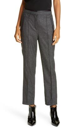 Rebecca Taylor Tailored by Herringbone Wool & Silk Ankle Pants