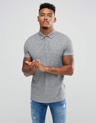 Asos DESIGN Polo Shirt With Button Neck In Interest Rib