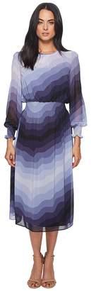 Catherine Malandrino Trudy Long Sleeve High Neck Sheer Slip Layer Midi Dress Women's Dress