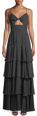 Jill Stuart Tiered Polka-Dot Sleeveless Twist Gown
