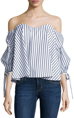 Caroline Constas Gabriella Off-The-Shoulder Striped Bustier Top $395 thestylecure.com