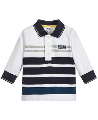 HUGO BOSS Kids Pique Striped Long Sleeved Polo