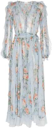 Zimmermann floral print waterfall detail silk dress