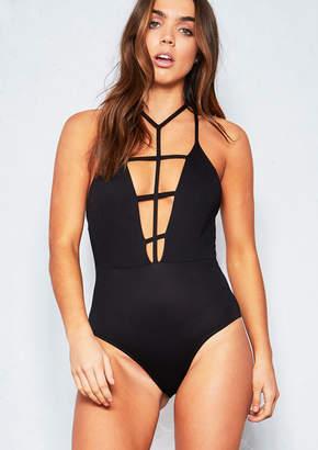 8d91ef413b76 Missy Empire Missyempire Laurie Black Harness Strap Bodysuit