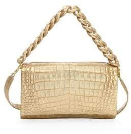 Nancy Gonzalez Metallic Leather Chain-Trim Crossbody Bag