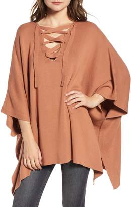 Bishop + Young BISHOP AND YOUNG Harper Lace Up Poncho Sweater
