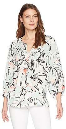 Chaus Women's 3/4 SLV Jungle Collage Pintuck Blouse
