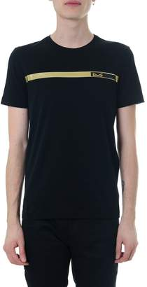 Fendi Black T-shirt With A Gold Striped Bug Bags Motif