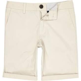 River Island Boys stone Dylan slim fit chino shorts