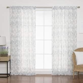 Langley Street Woodmont Tiled Geometric Sheer Rod Pocket Curtain Panels