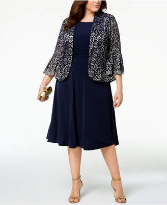 Jessica Howard Plus Size Ruched Dress & Lace Jacket