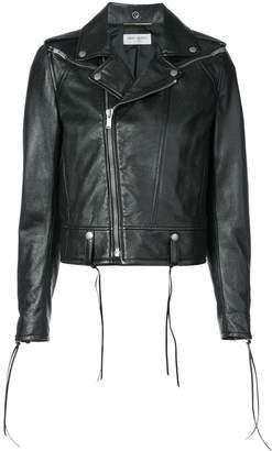 Saint Laurent Classic Biker Jacket with Lace-Up Detail