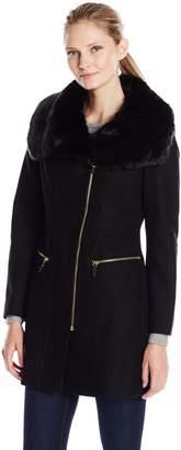 Via Spiga Women's Asym Wool Coat with Oversized Faux Fur Collarr