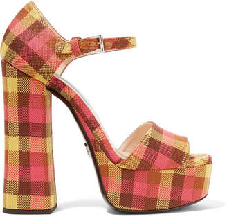 Prada Checked Canvas Platform Sandals - Yellow