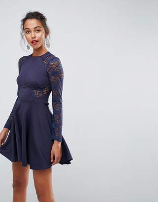 Asos Premium Mini Scuba Skater Dress With Lace Sleeves