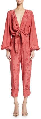 Johanna Ortiz Fanfare Plunging Tie-Front Blouson-Sleeve Floral-Jacquard Viscose Jumpsuit