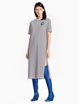 Calvin Klein cotton knit striped c-badge dress