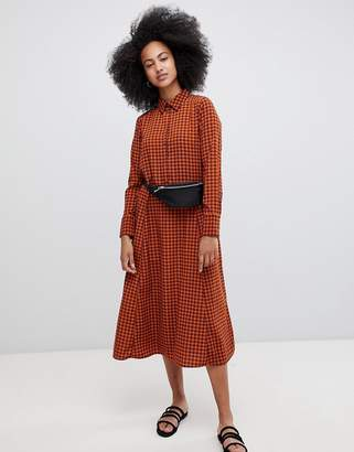 Monki Check Midi Smock Dress