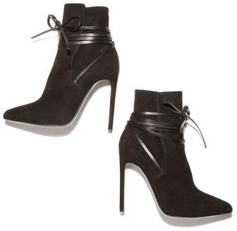 Saint Laurent Point-Toe Leather-Wrap Suede Ankle Boot, Black