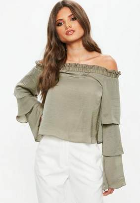 Missguided Gray Satin Tiered Bardot Blouse