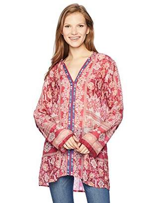 Johnny Was Women's Long Sleeve Tunic with Embroidered Trim