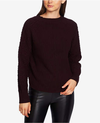 1 STATE 1.state Cotton Crewneck Textured-Sleeve Sweater