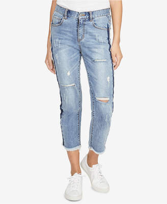 Rachel Roy Ripped Cropped Two-Tone Jeans