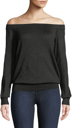 Michael Kors Off-the-Shoulder Long-Sleeve Metallic-Knit Pullover Sweater
