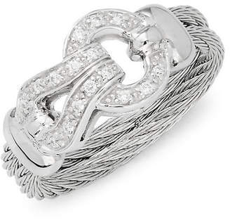 Alor 18K White Gold Stainless Steel & Diamond Ring