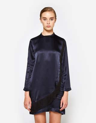 Ganni Donnelly Satin Dress in Total Eclipse