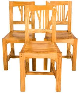 Set of Three Contemporary Wood Dining Chairs