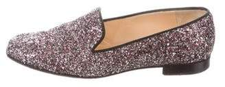 Christian Louboutin Glitter Round-Toe Loafers