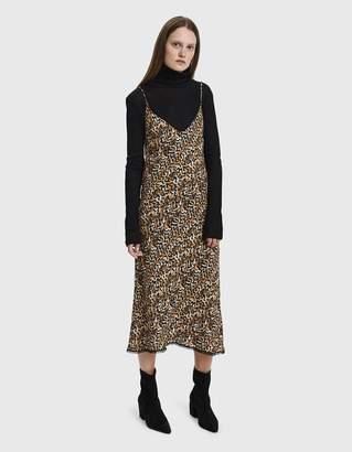 Collina Strada Barbarella Lace Trim Leopard Print Dress