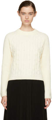Carven Ivory Cropped Wool Sweater