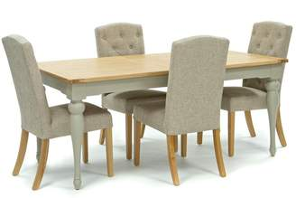 Willis & Gambier Oak And Painted 'Worcester' Large Extending Table And 4 Beige 'Stanza' Chairs