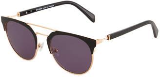 cfb79478b46b ... Balmain Round Browline Acetate Metal Sunglasses