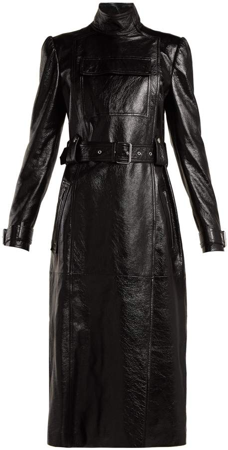 VALENTINO Dragon-embroidered double-breasted leather coat