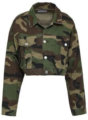 RE/DONE Cropped Printed Denim Jacket