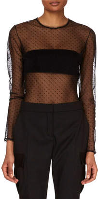 Redemption Long-Sleeve Sheer Dotted Bodysuit