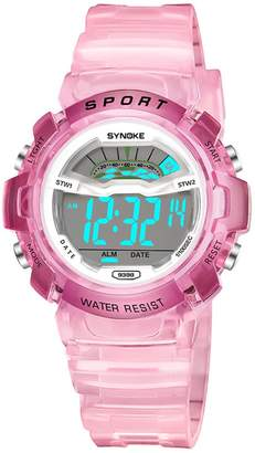 Cheamlion Kids Girls Pink Water Resistant Jelly Chronograph Digital Watch