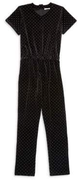 Design History Girl's Studded Velour Jumpsuit