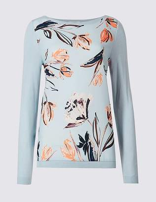 Marks and Spencer Floral Print Slash Neck Long Sleeve Jumper