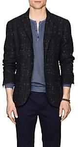 John Varvatos Men's Plaid Linen-Blend Four-Button Sportcoat-Blue