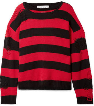TRE - Love Distressed Striped Cashmere Sweater - Crimson