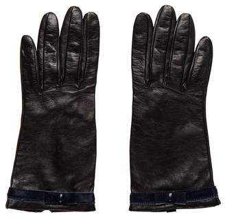 Portolano Leather Ponyhair-Trimmed Gloves