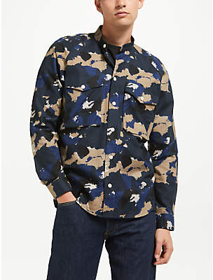 Samsoe & Samsoe Cayo Long Sleeve Camo Shirt, Blue